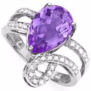 Ring 2.33 Ct Amethyst & Diamond Sterling Silver